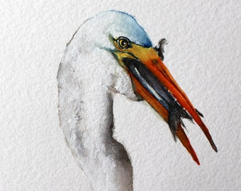 watercolor bird painting bird art original watercolor Honeymoon Island Egret Lunch by Betty Moore