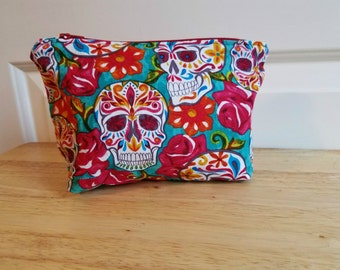Day of the Dead Zipper Pouch/ Makeup Pouch/ Cosmetic Bag/ Pencil Pouch/ Zipper Bag/ Storage Pouch