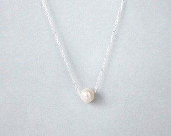 Handmade Sterling Silver Pearl Charm Necklace, Custom letter initials on silver