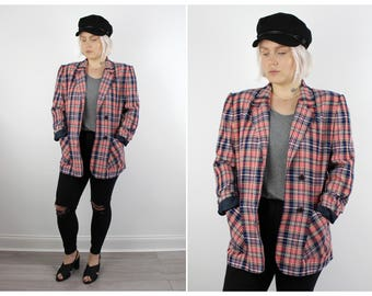 Vintage 1980's Pink Blue Checked Oversized Blazer 14 16 L XL / Free UK Shipping