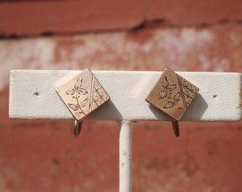Victorian Earrings Rose Gold Filled Aesthetic Movement Screwback