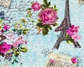 Vintage Paris Eiffel Tower Fabric -  100% Cotton Quilting Apparel Crafts Home decor