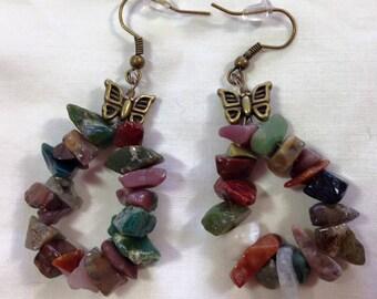 Fancy Jasper Hoop Earrings w/ Butterfly