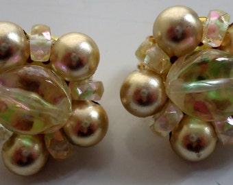 Pair of beaded clip on earrings