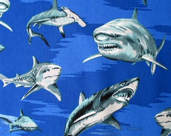 Shark Fabric, Great White Sharks on Royal Blue,Hoffman, Shark Week, By the Yard