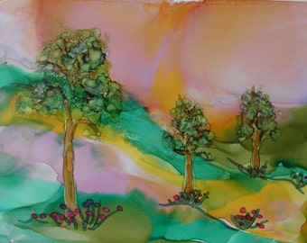 Painting landscape ink 5x7 original alcohol ink painting on yupo paper # 241