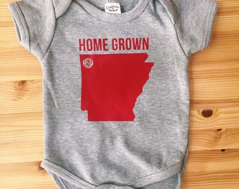 Home Grown Onesie with Monogram Over City