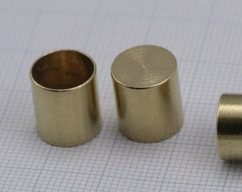 ribbon end, 12 X 11 mm 10 mm inner without hole raw brass cord  tip ends, raw brass ends cap, findings ENC10 1447