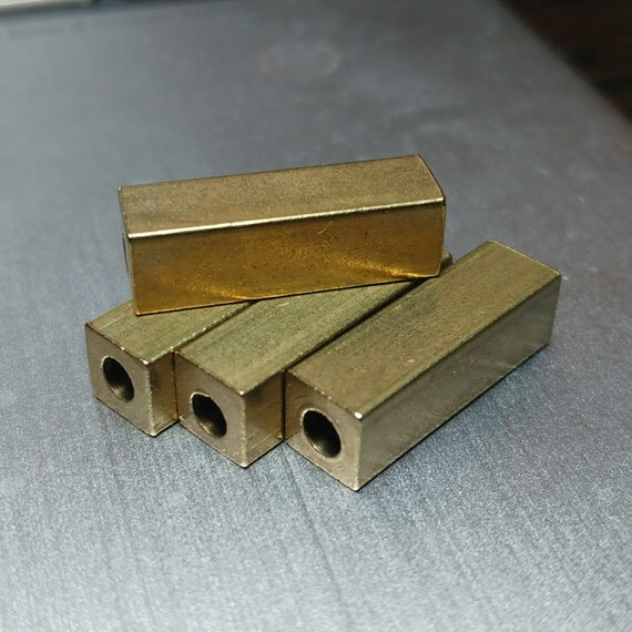 "square tube 5 pcs Raw Brass 6x20 mm 1/4"" x 5/4"" finding spacer industrial design (3 mm 1/8"" hole ) bab3 1374 R"