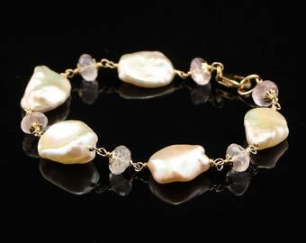 Large, Pink, Baroque Pearl, Rose Quartz and Gold Filled, Wire Wrapped Bracelet