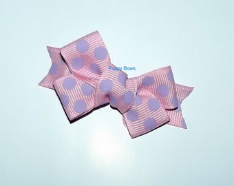 "Puppy Bows ~Pink purple polka dots 2"" dog hair pet comb clip barrette ~Usa seller"