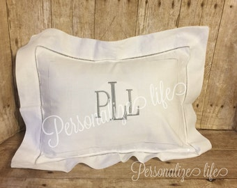 Monogrammed Pillow Cover,Swiss Dot Hemstitch Boudoir Pillow Cover,Personalized Baby Pillow,Christening Gift,Baby Shower Gift,Pillow Cover