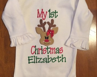 My 1st Christmas Reindeer Baby Bodysuit or Shirt