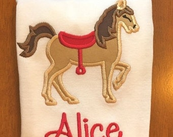 Red Saddle Horse Cowgirl Shirt or Baby Bodysuit