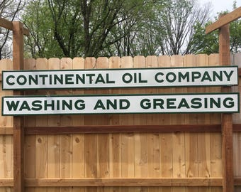 Vintage Continental Oil Company Washing And Greasing Porcelain Signs - Selling as Pair