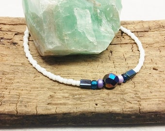 Purple Anklets,Beaded White Anklets,Ankle Bracelets,Sized To Fit,Beaded Anklets,Purple and White Anklets,StoneMountainJewelry