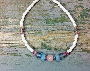 Custom Sized Anklets~Pink Quartz Blue Beaded Anklets Ankle Bracelets~Beach Jewelry~Body Jewelry~Boho Anklets~Made to Fit~Beach Wedding