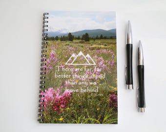Mountain Notebook, Blank Paper Notebook, Nature Journal, Graduation gift,  Wildflower Journal, Handmade Journal, Custom Notebook