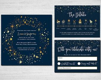 Printable Wedding Invitation - Blue & Gold Sparkle