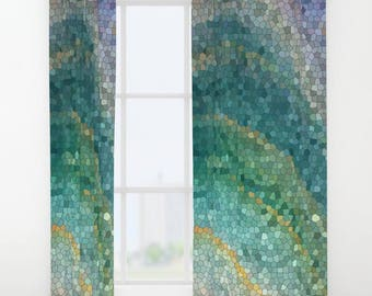 Teal curtains Etsy