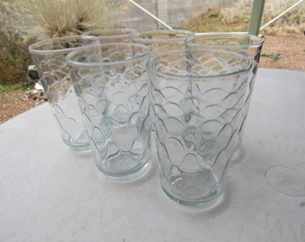 Set of 6 Heavy Libby Clear Snakeskin Tumblers