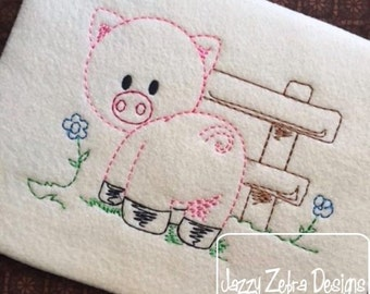 Pig with fence color work embroidery design - pig embroidery design - farm embroidery design - pig red work embroidery design - vintage