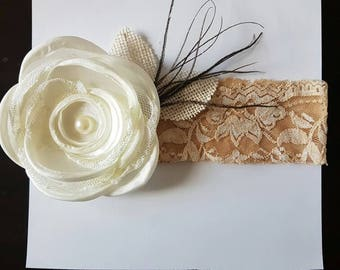 Lace and flower headband with feather detailing