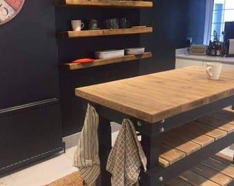 Butchers Block Unit with 2 Half Shelves Breakfast Bar Kitchen Island