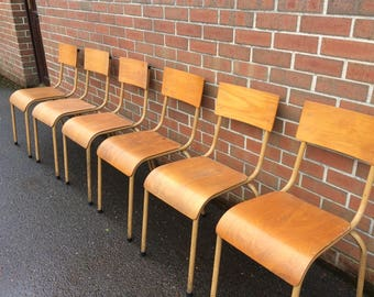 Vintage Old Wood School Style Industrial Chairs