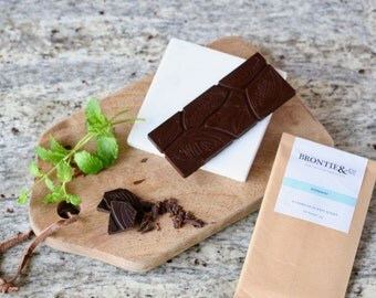 Two Vegan Raw Chocolate Peppermint flavour bar//diabetic suitable//sugar free//dairy free//gluten free