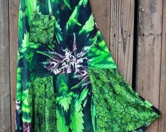 Hippy Skirt, Gypsy Skirt, Maxi Skirt, Maxi Skirt Boho Skirt in Purple Nepal Marijuana Print, Upcycled Skirt, Festival Skirt, Bohemian Skirt