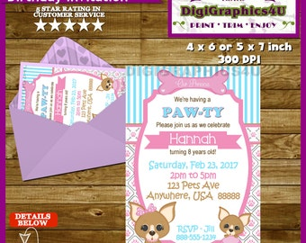 Girls Puppy Dog, Doggy Birthday Pawty Invitation - Personalized Printable File