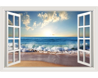 Beach Ocean Waves Wall Decal Sticker Graphic - 4 Sizes Available