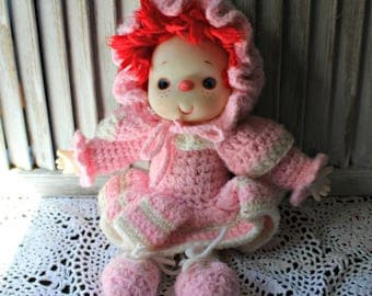 Vintage. Doll. Ice cream. type doll. Handmade. doll. Pink and white. Crochet. Yarn. Clown. 1980's.