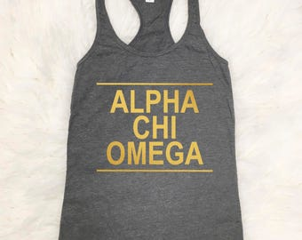 Alpha Chi Omega Tank Top | Metallic Gold | Tshirt | Tee | A Chi O