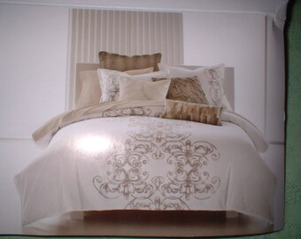 VINTAGE SCROLL Full Queen Duvet Cover Biege and Ivory Mint In Pkg