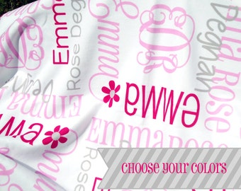 Initial Baby Blanket - Monogrammed Receiving Blanket for Girls - Custom Name Fleece Crib Blanket - Personalized Infant Swaddling Blanket