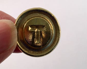 "MBTA T Button, Gold T Button, Gold Shank Button, Round Button, Vintage Button, Two Sizes: 7/8"" and 5/8"", Shiny Gold"