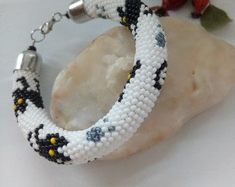 Seed bead bracelet White and black bracelet Bead crochet rope  Beaded bracelet black cat bracelet Bead jewelry