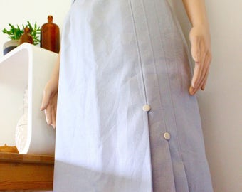 vintage skirt 70's 1970's blue pencil office corporate work retro pleated lined