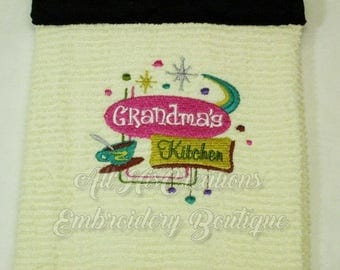 Grandma's Kitchen Towels, Retro Kitchen Towel, Machine Embroidered Kitchen Towels, Kitchen Towels for Grandma, Mother's Day Kitchen Gift