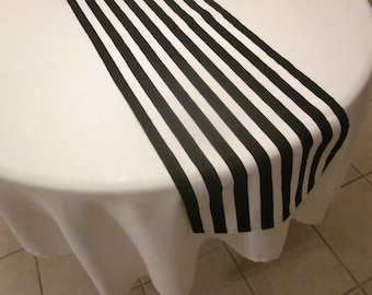 Black and White Stripe Table Runner, Halloween,  Wedding Table, Bridal Shower, Baby Shower, Graduation,  Pirate Party,Birthday