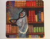 Librarian Emu, sweet educated bird with cat eye glasses, books, Magnet, 2 inches x 2 inches, Perfect Small Gift
