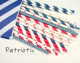 Patriotic -July 4th Celbration -Red and Blue party- Paper Straws,  Navy Straws -Red Straws -Gold Straws