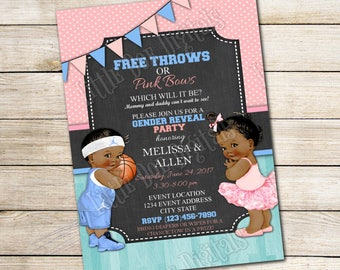 Personalized Free Throws or Pink Bows Gender Reveal Party Invitations 5x7 or 4x6 - Digital File or Printed Copies - Basketball - Pink Blue