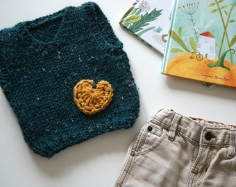 Hand Knit Baby Vest Baby Boy Vest Knit Baby Girl Knit Vest Green Baby Vest Baby Vest Mustard Heart Knit Baby Clothing Baby Sweater