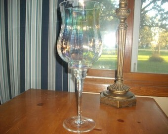 Candle holder wine glass etsy for Beach wine glass candle holders