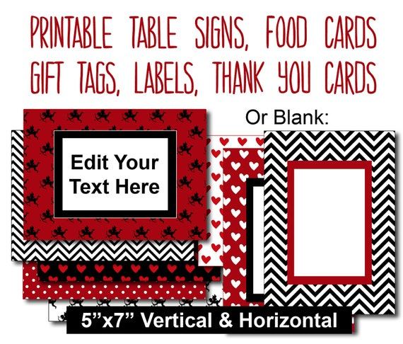 Valentines day party editable table signs printable food for Table 52 valentine s day