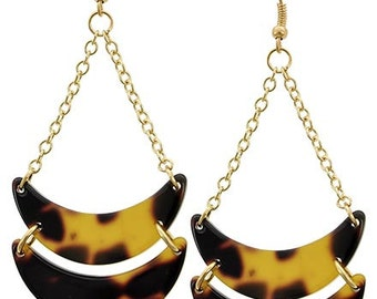 Tortoise Shell Two Tier, Drop Earrings and Dangle Chain