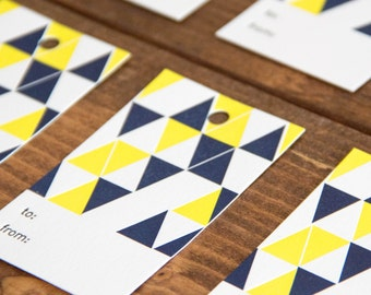 Blue and Yellow Triangle Letterpress Gift Tag - Set of 6